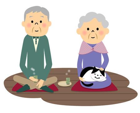 veranda: Elderly couple drinking tea