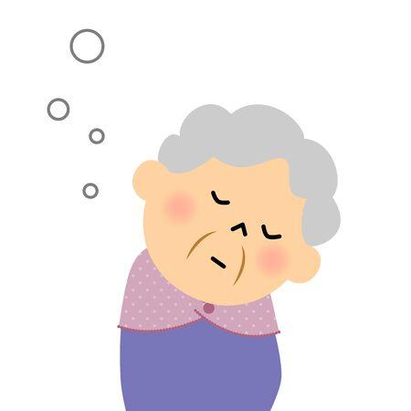 Female senior citizen, Doze off Ilustração