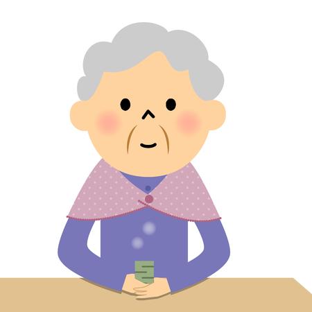 Female senior citizen drinking tea Иллюстрация