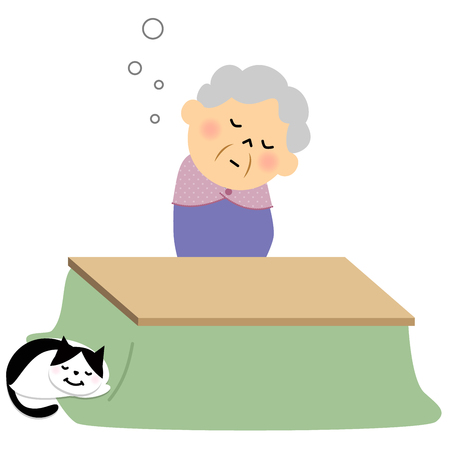 citizen: Female senior citizen, Doze off Illustration