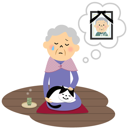 unhappy family: Female senior citizen, Lonely