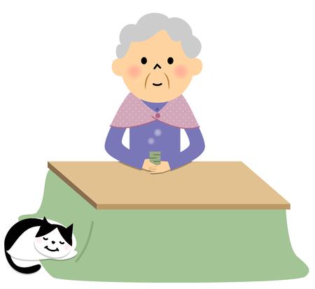 unwind: Female senior citizen drinking tea Illustration