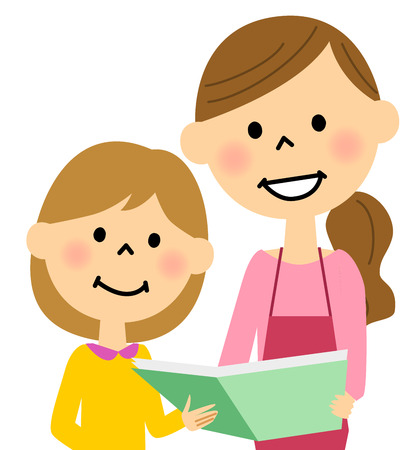 Apron woman reading a book to children