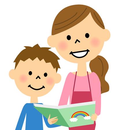 Schort vrouwen om het boek aan kinderen te lezen Stockfoto - 55629675