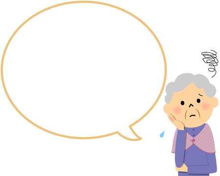 secluded: Female senior citizen with blank text bubble and Balloon