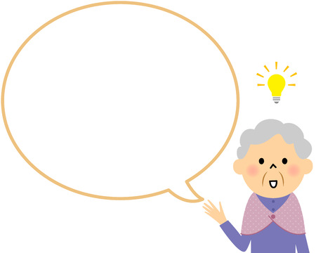 perceive: Female senior citizen with blank text bubble and Balloon