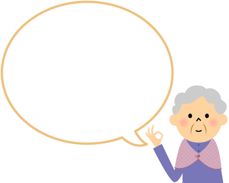 mom and daughter: Female senior citizen with blank text bubble and Balloon