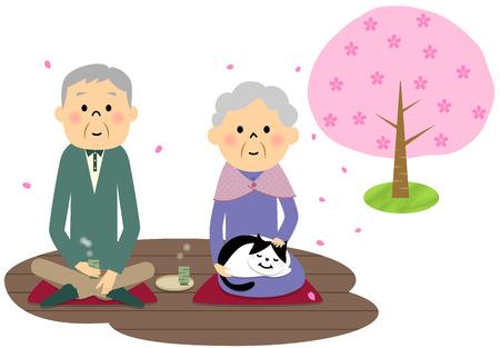 veranda: Elderly couple, Cherry-blossom viewing Illustration