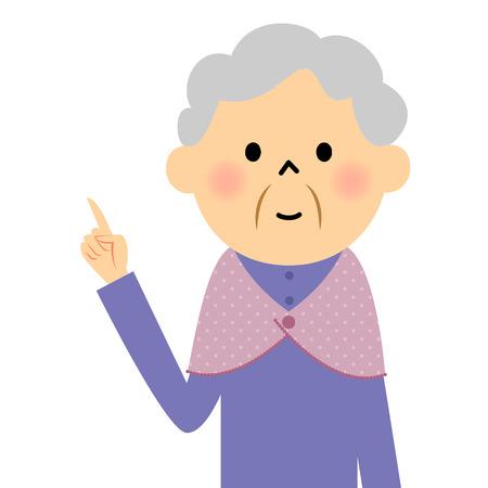 citizen: Female senior citizen, It refers to the finger Illustration