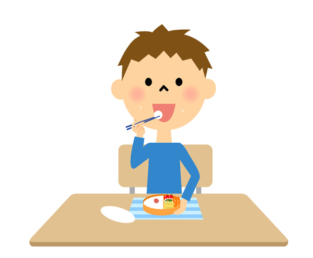 childcare: Boy eating lunch