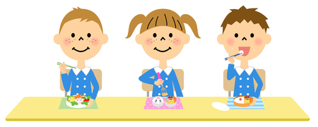baby rice: Kindergarten children who eat lunch Illustration