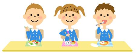 niños de preescolar que comen el almuerzo Ilustración de vector