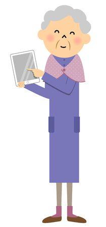 Female senior citizen, Tablet Illustration