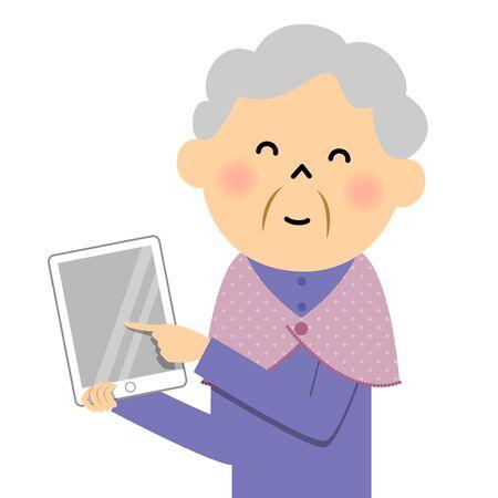 Female senior citizen, Tablet Vetores