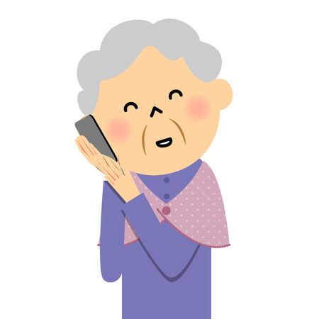 daughter cells: Female senior citizen, Mobile phone