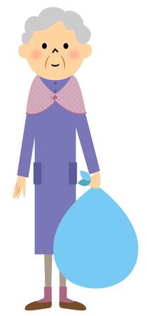 女性の高齢者は、ゴミを出す ベクターイラストレーション