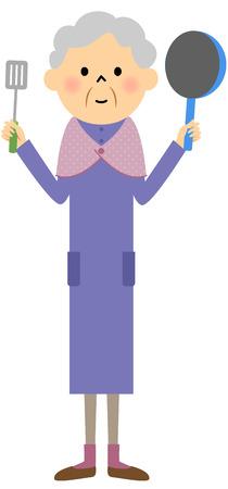 citizen: Female senior citizen, Cooking
