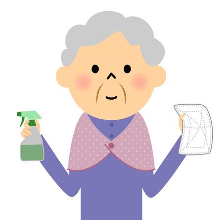 女性の高齢者では、抜本的な  イラスト・ベクター素材