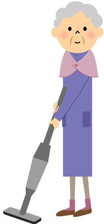 citizen: Female senior citizen, Vacuum cleaner Illustration