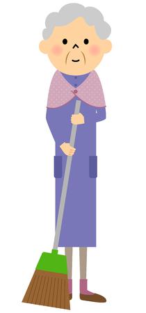 citizen: Female senior citizen, Sweeping Illustration