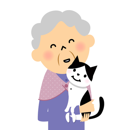 Female senior citizen and cat