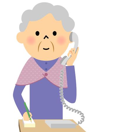 Female senior citizen, Phone
