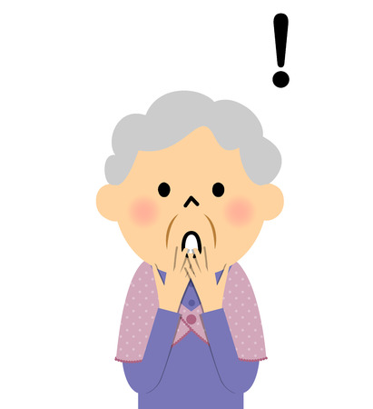 Female senior citizen, Surprised