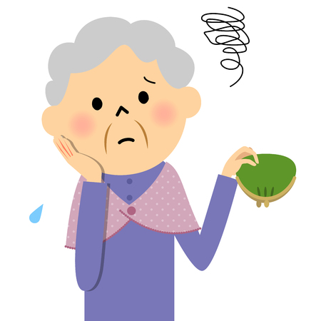 bothered: Female senior citizen, Lack of money Illustration