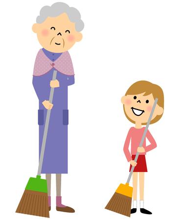 granddaughter: Granddaughter and grandmother, Sweeping