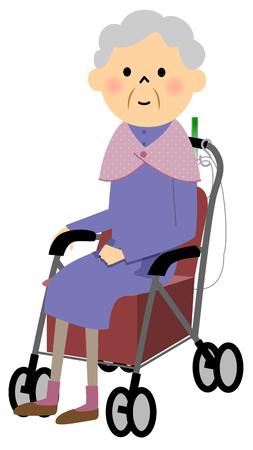A wheeled walker for the elderly