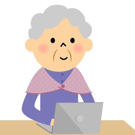 Female senior citizen, PC