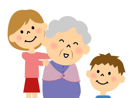 Grandpm and a grandchild Stock Illustratie