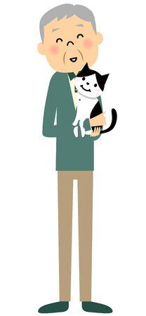 Senior citizen and cat  イラスト・ベクター素材