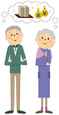 elderly couple: Elderly couple, money