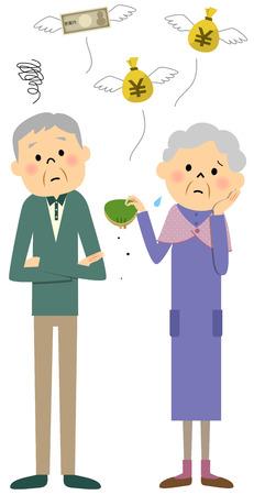 Elderly couple, Lack of money Stock Illustratie