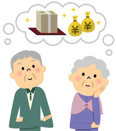 rich couple: Elderly couple, money