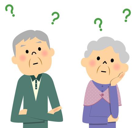 Elderly couple, Question Иллюстрация