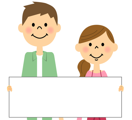 young couple: Young couple with a message board