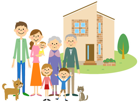 family outside house: Relationship of good family