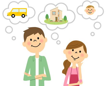 Jeune couple de parler plan de vie