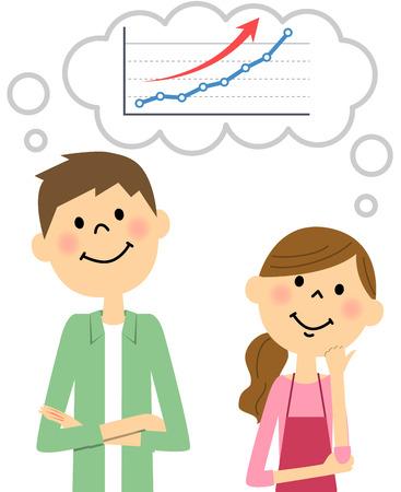joven pareja de imaginar la subida de precios de acciones