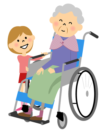 age old: The elderly to sit in a wheelchair, nursing care
