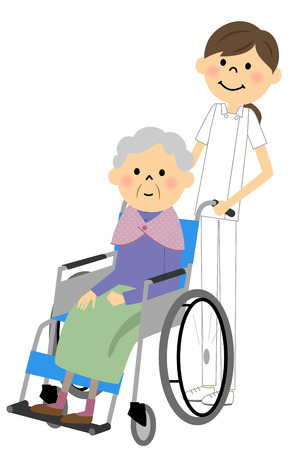 De ouderen om te zitten in een rolstoel, de verpleegkundige zorg