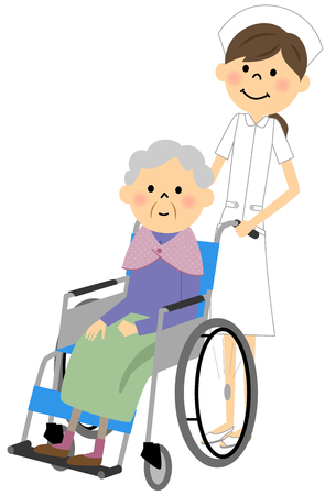 高齢者介護、車椅子に座っている