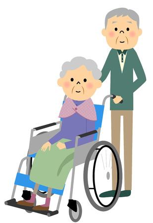 nursing care: The elderly to sit in a wheelchair, nursing care