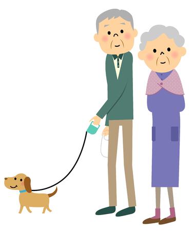 elderly couple: Elderly couple to walk the dog Illustration