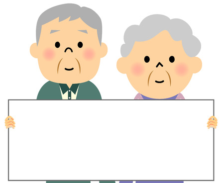 elderly couple: Elderly couple, Panel Illustration