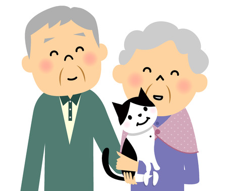 older couple: Elderly couple and cat Illustration