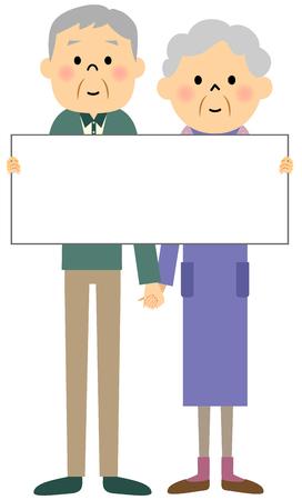 older woman smiling: Elderly couple, Panel Illustration