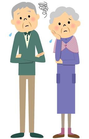 Bejaarde echtpaar, Trouble Stockfoto - 57639235